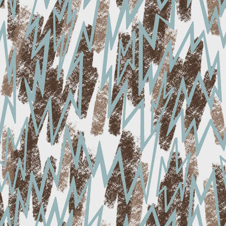 Thin zig zag lines seamless pattern. Abstract geometric elements. Artistic lines background. Grunge texture with painted brush strokes. Fashion design for textile, fabric, sportswear and any surface.