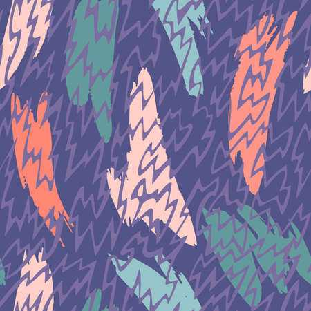 Vector abstract seamless pattern made of brush strokes shapes mixed with zig zag thin lines texture. Smears with uneven edges. Simple figures in flat design. For fashion, textile, fabric and wrapping.