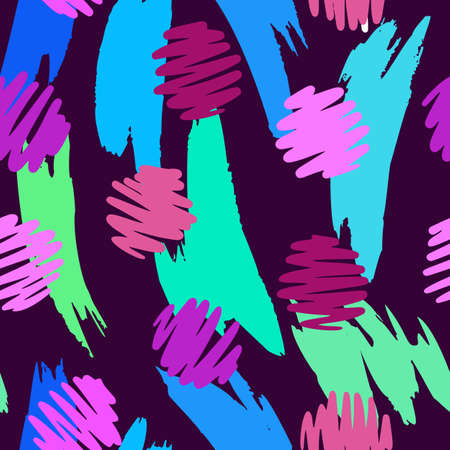 Vector abstract seamless pattern made of brush strokes shapes mixed with polka dot texture. Smears with uneven edges. Simple figures in flat design. For fashion, textile, fabric and wrapping. Illustration