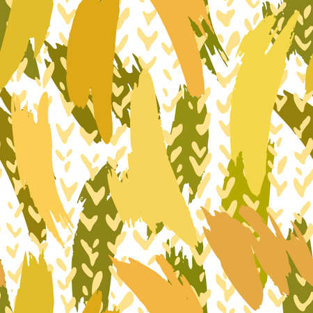 Vector abstract seamless pattern made of brush strokes shapes mixed with chevron lines texture. Smears with uneven edges. Simple figures in flat design. For fashion, textile, fabric and wrapping.