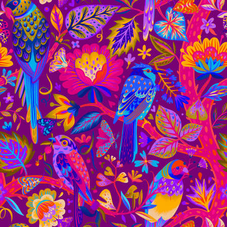 Bright summer exotic seamless pattern. Ethereal tropical plants, flowers and birds, Black and white animal botanical background. Garden of Eden. Fashion design for textile, fabric, clothes.