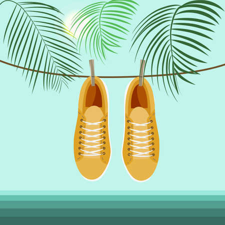 Sneakers on the background of the sea and palm branches.
