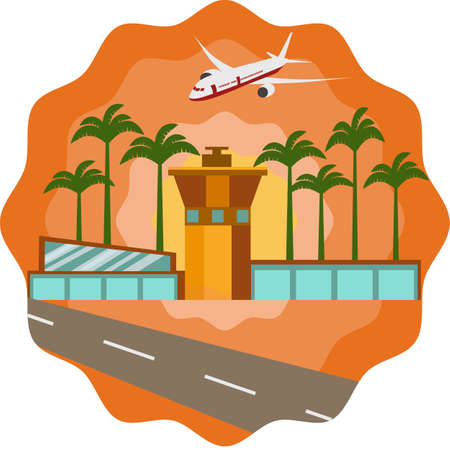 take charge: Airport and plane in flat illustration.Summer template for brochure, poster, banner, invitation background.