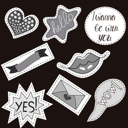 drawing pin: Vector illustration isolated on a black background. Set of stickers, pins, patches in cartoon 80s-90s comic style.
