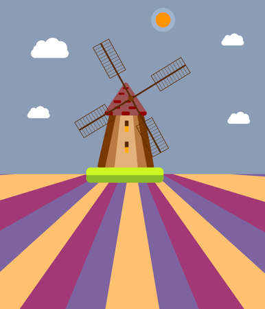 A windmill in a field against a background of sky, sun and clouds.