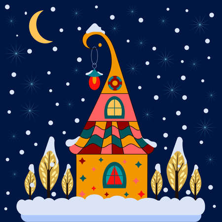 Merry christmas card with house. Happy new year.