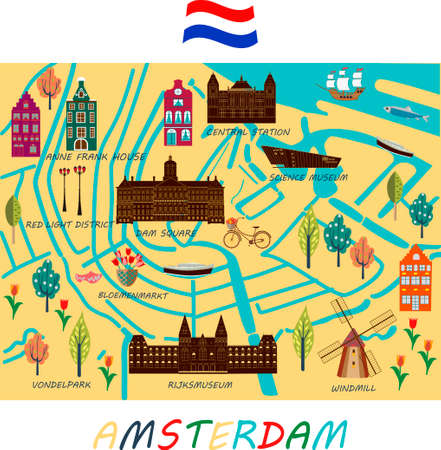 Banner of Amsterdam city in flat line trendy style. Amsterdam city line art. All buildings separated and customizable.