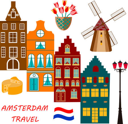 A Vector Illustration of building Amsterdam outline for Design.