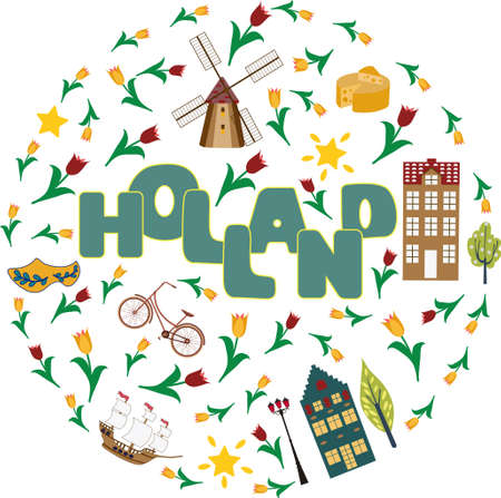 Holland travel cultural background poster with tulips wooden clogs and windmills vector illustration.