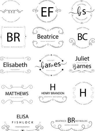 Retro Vintage Insignias or Logotypes set. Vector design elements.  イラスト・ベクター素材