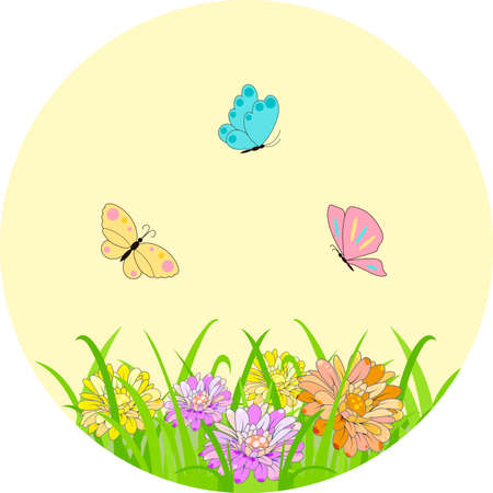 Spring set for design of multicolored butterflies, dragonflies and flowers. Can be used for wedding, baby shower, mothers day, valentines day, birthday cards, invitations, greetings and romantic labels.