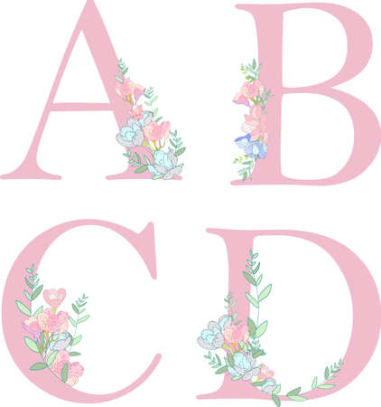 Flower alphabet letter C. Archivio Fotografico - 104732189