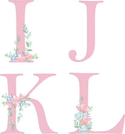 Flower alphabet letter C. Bright floral element of colorful alphabet made from birds, flowers, petals, hearts and twigs.