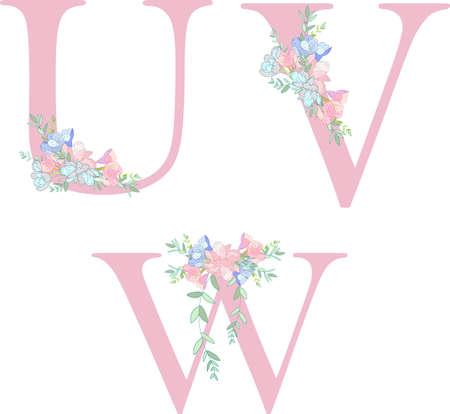 Letra del alfabeto de flores C.