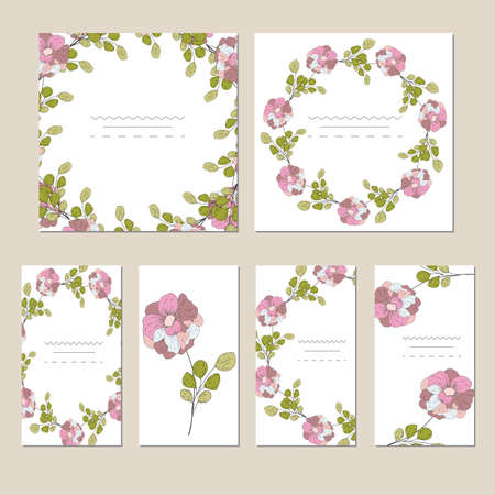 Botanic card with wild flowers and leaves. Spring ornament concept.