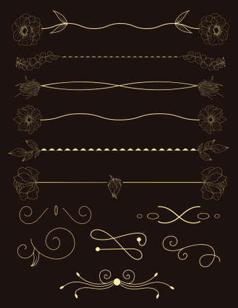 Collection of handdrawn borders.Unique swirls and dividers for your design. Vector label, ribbon,symbol, ornament, frames and scroll elements. Archivio Fotografico - 120317028
