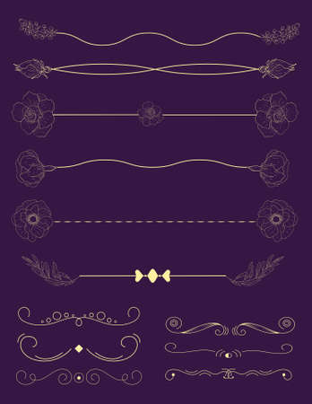 Collection of handdrawn borders.Unique swirls and dividers for your design. Vector label, ribbon,symbol, ornament, frames and scroll elements. Archivio Fotografico - 120317030
