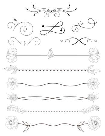 Collection of handdrawn borders.Unique swirls and dividers for your design. Vector label, ribbon,symbol, ornament, frames and scroll elements.