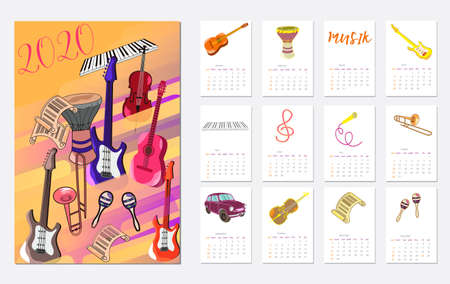 Calendar Layout for 2020 years. Çizim