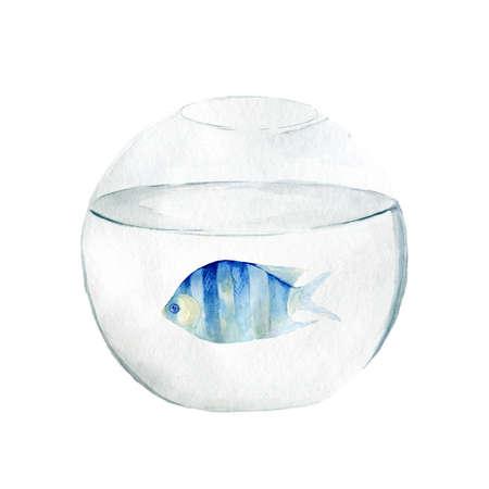Aquarium, a realistic aquarium with fish and algae. Watercolor illustration of aquarium with fish isolated on white.