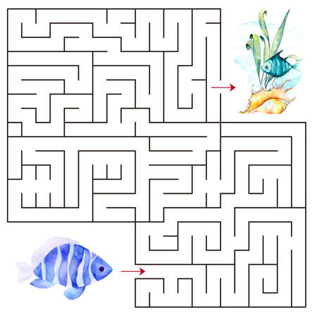 Kids maze.Educational a mathematical game. Stock Photo