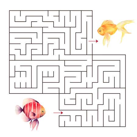 Labyrinth shape design element.Educational a mathematical game. Zdjęcie Seryjne - 128723113