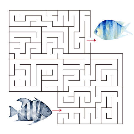 Labyrinth shape design element.Educational a mathematical game. Stok Fotoğraf