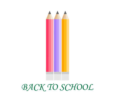 Back to school . Vector compocition with colorful school pensils and red sale teg in white background, for education school shopping promotion. First day of school.