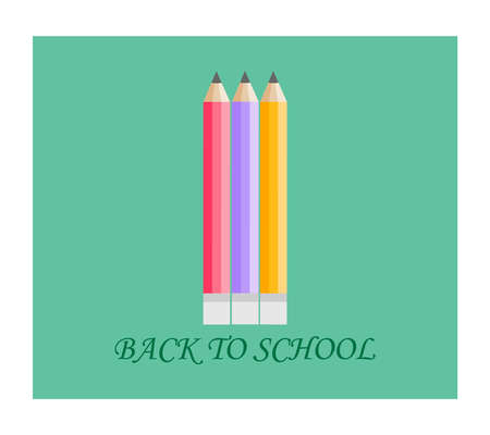 Back to school . Vector compocition with colorful school pensils and red sale teg in white background.