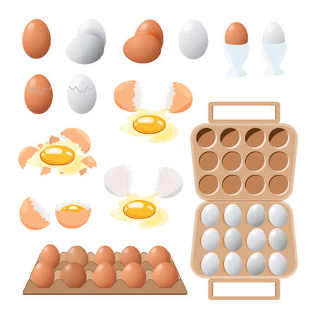 food icon. Chicken boiled,broken and raw eggs brown and white color.An egg in the shell and box ,half an egg with the yolk. Illustration in cartoon style.