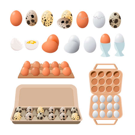 food icon. Chicken boiled,broken and raw eggs brown and white color.An egg in the shell and box ,half an egg with the yolk. Illustration in cartoon style. Stok Fotoğraf - 128723395