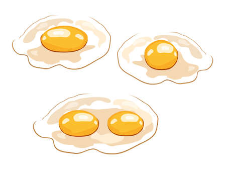 food icon. Chicken boiled,broken and raw eggs brown and white color.An egg in the shell and box ,half an egg with the yolk. Illustration in cartoon style. Фото со стока - 128723397