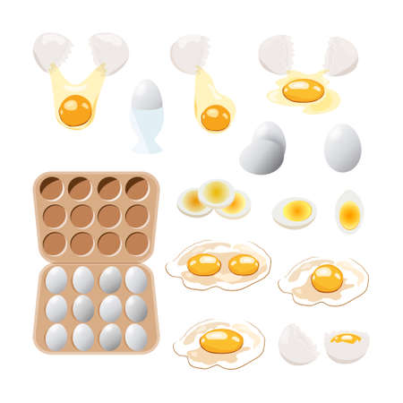 food icon. Chicken boiled,broken and raw eggs brown and white color.An egg in the shell and box ,half an egg with the yolk. Illustration in cartoon style. Фото со стока - 128723434