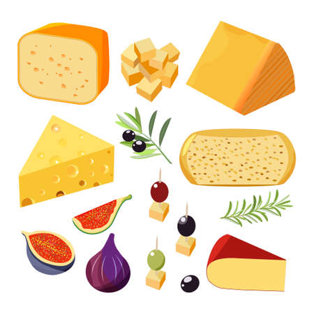 Vector set of realistic dairy products. Isolated collection cheese pieces and Slices used for restaurant menu. Zdjęcie Seryjne