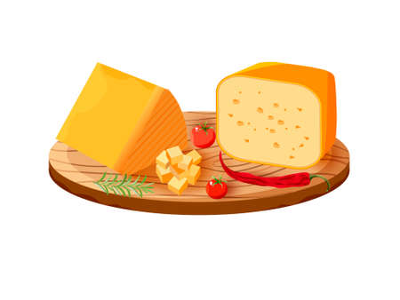 Vector set of realistic dairy products. Isolated collection cheese pieces and Slices used for restaurant menu. Stok Fotoğraf