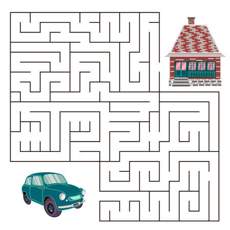 Maze game for kids.Find right way. Isolated simple square maze on white background.  template page with game.