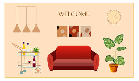 Trendy home decor elements with plants and interior design.