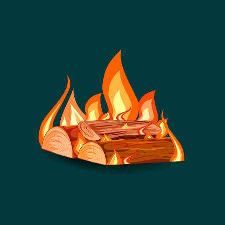 Vector cartoon style illustration of bonfire.Burning woodpile.