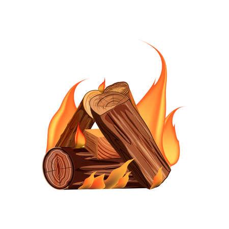 Vector cartoon style illustration of bonfire.Burning woodpile.