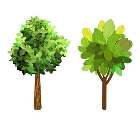 Garden trees. Green garden vegetation trees icons.