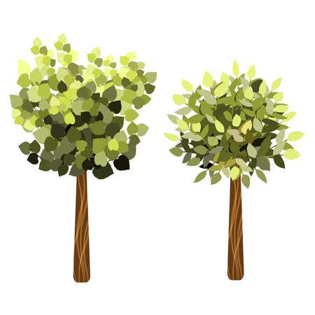 Garten Bäume. Grüne Gartenvegetation Bäume Symbole.