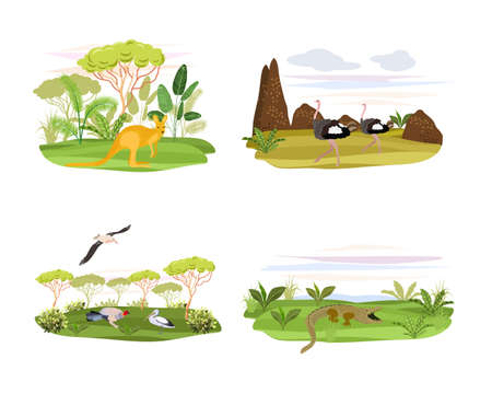 Animals on the background of trees and plants.