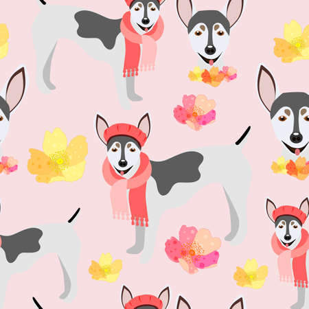 Childish seamless pattern with dogs.Perfect for kids apparel,fabric, textile, nursery decoration,wrapping paper. Çizim