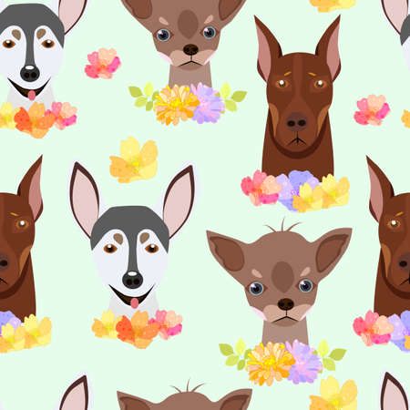Childish seamless pattern with dogs.Perfect for kids apparel,fabric, textile, nursery decoration,wrapping paper. Illustration
