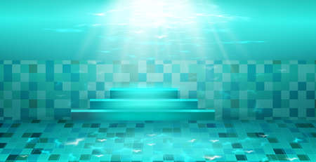 Swimming pool with blue water.Texture of water surface and tiled bottom