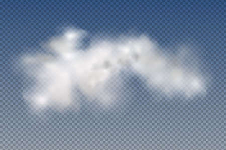 Set of realistic isolated and transparent clouds, fog or smoke on a blue background.Graphic element vector. Vector design shape for logo, web and print.