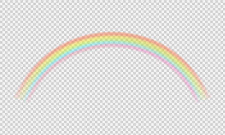 Perspective diagonal view.Vector realistic translucent sky. Rainbow template.