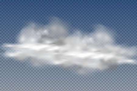 Set of realistic isolated and transparent clouds, fog or smoke on a blue background.Graphic element vector. Vector design shape for logo, web and print. Ilustrace
