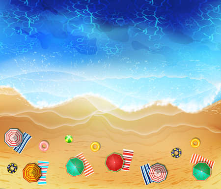 Summer sea beach top view with waves and foam.  イラスト・ベクター素材