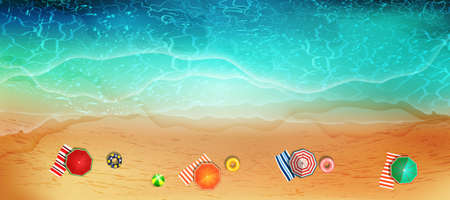 Sandy ocean shore. Vector illustration of coast with yellow sand, turquoise water and tropical seaside.Concept of exotic vacation.  イラスト・ベクター素材